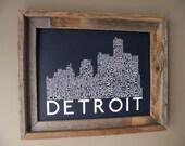 Detroit Skyline Word Art Print (Dark Blue)