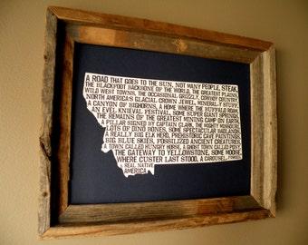 Montana In A Nutshell Word Art Map Print (Dark Blue) - Unframed