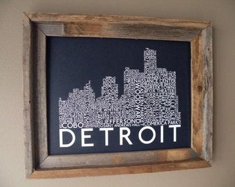 Detroit Skyline Word Art Print (Dark Blue) - Unframed