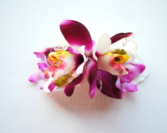 purple pink white exotic orchids, double orchids, weddings accessories, bridal hair comb, bridesmaids hair piece, beach hawaiian wedding
