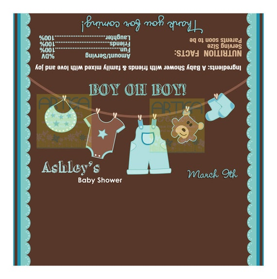 boy baby shower chocolate wrapper boy clothesline chocolate wrapper