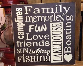 """Personalized Family Word Art, Family Subway Art, 12""""x12"""" Custom Family Wood Sign, Personalized Family Memories Gift, Custom Anniversary Gift"""