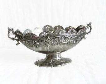 Ornate vintage metal bowl, pedestal foot, silvertone, Grapevine grape bunch vine leaves, embossed fruit, wine house, vineyard, decor, footed
