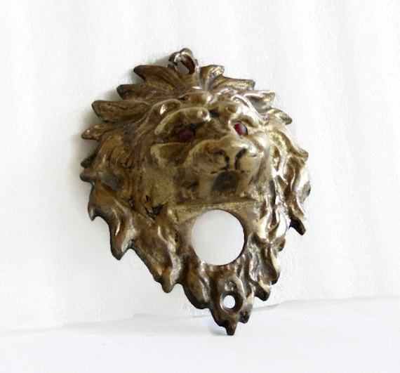 Lion Head Door Bell Push Button Vintage Cast Brass Doorbell