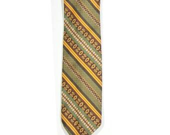 Vintage 1970s Green Striped Necktie