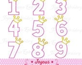 Instant Download Crown Numbers 1-9 Applique Machine Embroidery Design NO:1410
