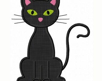Instant Download Black Cat  Applique Machine Embroidery Design NO:1362