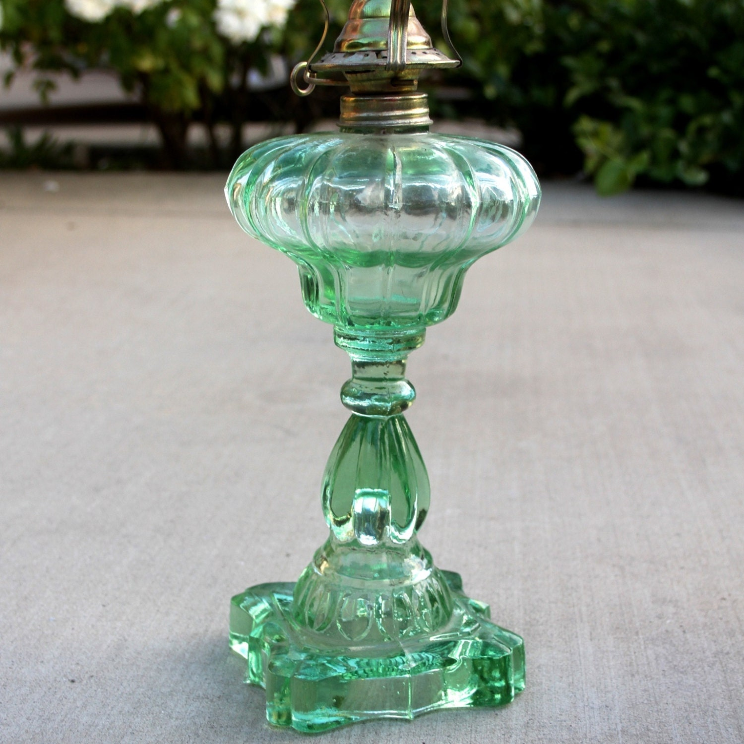 vintage pressed glass kerosene lamp