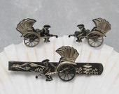 Vintage Sterling Cufflinks Tie Clip Set Rickshaw Niello Jewelry H624