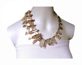 OCEAN ALLURE Iridescent shell shark tooth shaped necklace paradise tropics