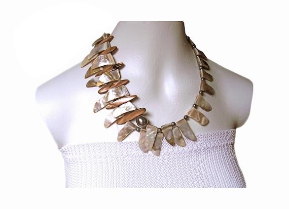 OCEAN ALLURE Iridescent shell shark tooth shaped necklace paradise tropics
