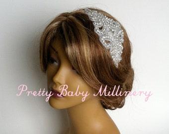 1920s Flapper Bridal Headband LARGE - Art Deco, crystal headband rhinestone bridal hair accessories, bridal head piece headpiece