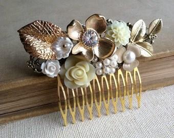 Rustic wedding, Gold bridal hair comb, Bridal hair comb, Garden wedding,headpiece vintage hair accessory collage