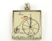 Bicycle Pendant - Old Fashioned Victorian Collage Art Jewelry Charm