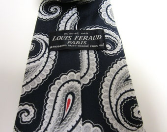 1980s Louis Feraud Paris Necktie - Navy Blue Silver Grey White Red Paisley - Vegan
