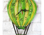 The Green Balloon Wall Clock Home Decor for Children Baby Kid Boy Girl Nursery Playroom Stripes