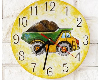 The Dump Truck Wall Clock Home Decor for Children Kid Boy Nursery Playroom, wood clock, white home decor, kids gift.