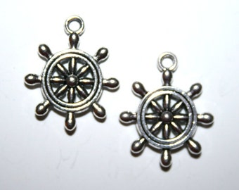 10 Antique Silver Ship Steering Wheel Charms/Pendants
