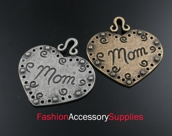 2pcs-35mm Antiqued Bronze,Silver Brass Hearts Mom charms,Pendants (A188)