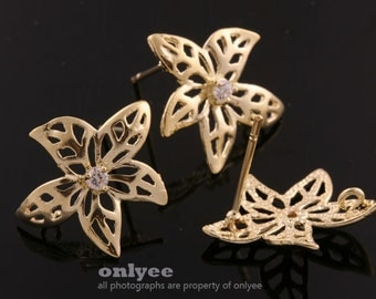 5pair/10pcs-17mmX11mm Gold plated Brass with Zricon Flower Earing post  Ear Wires(K617G)