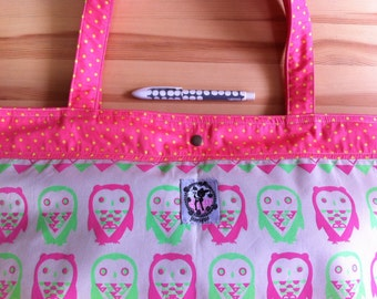 cute handprinted neon pink and green Geometric Owl silkscreen on big tote bag / shopping bag / market bag
