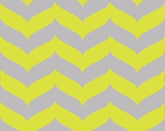 Removable Wallpaper - Wave Chevron Print in Citron and Gray
