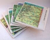1974 Arizona & New Mexico Map Handmade Vintage Map Coasters - Ceramic Tile Coasters Set of 6 - Repurposed 1970s Rand McNally Atlas - OOAK