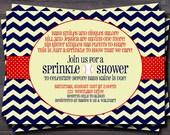 Chevron baseball baby sprinkle or shower invitation.  invite.  red, navy. baby boy. custom.
