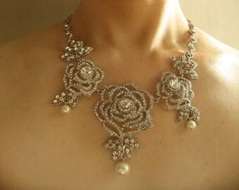 Swarovski rhinestone crystals and pearls wedding bridal necklace, rose necklace, rhinestones necklace, wedding necklace, bridal necklace