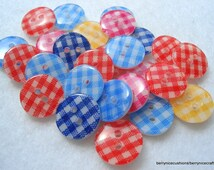 13mm Resin Buttons Gingham Pattern Pack of 50 Mixed Colours A166