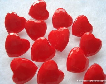 14mm Red Heart Buttons Pack of  20 Heart Shaped Resin Shank Buttons
