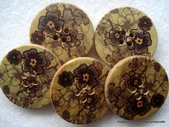 30mm Large Wood Buttons with Grey Black Green Flower Print W3057