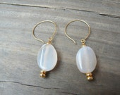 Fire Agate Gemstone Dangle Earrings.  Simple Everyday Earrings.