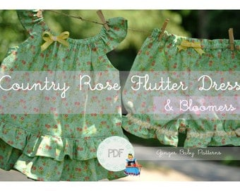 Country Rose Flutter Dress & Bloomers PDF Sewing Pattern - Baby, Toddler, Girls, Sizes 0-3, 3-6, 12m, 18m, 2, 3, 4, 5, 6, 7, 8
