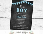 It's a Boy Bunting Baby Shower Polka Dots Stripes Invitation - Chalkboard background - Gray and Blue - no color changes