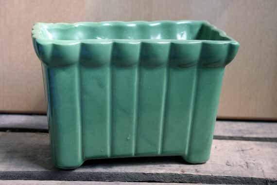 Vintage Green Ceramic Planter Upco Usa 1930s Flower Pot