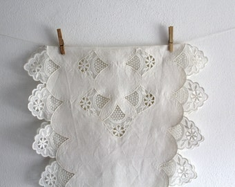 SALE 50 OFF Table Runner Embroidered Vintage Home Decor White Cotton Spring Summer Shabby Chic