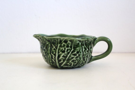 Vintage Creamer Green Cabbage Majolica Glazed Portuguese Ceramics Portugal Secla Pottery Home Decor
