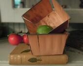 Vintage Wood Slat and Zinc Berry Baskets / Berry Crates