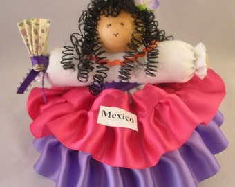 Mexico Girl Doll in Cha Cha costume - approx. 6 inches tall