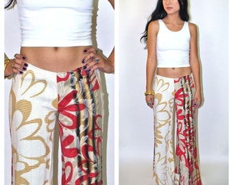 Retro 70's Floral Print Low Rise Bell Bottoms