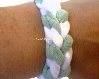 FREE SHIPPING, Paracord Arm Candy, Friendship Bracelet, Boho Jewelry, Fabric Surf Hippie Stackable Bracelet Unisex-Mint Green/White