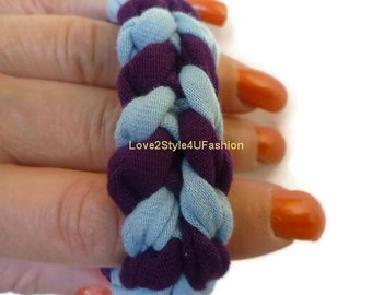 FREE SHIPPING, Arm Candy, Paracord Friendship Bracelet, Boho Jewelry, Fabric Surf Hippie Bracelet, Stackable Bracelet Unisex-Purple/Sky Blue