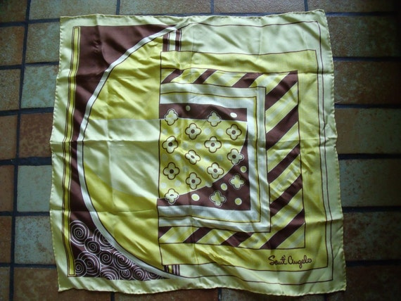Vintage Sauté Angelo Scarf And Unmarked Scarf Clip Yellow Brown Gold 1970s