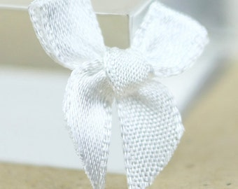 B-096 / Little Satin Ribbon Bows / 100 Pcs / Color - White / Size : 2 cm.