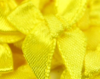 B-016  / Little Satin Ribbon Bows / 100 Pcs / Color - Yellow / Size : 2-3 cm.