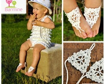 Crochet Baby Barefoot Sandals, Baby Foot accessories, Photo prop, Beach Pool Anklet, Lace Sandals, Your choice of color