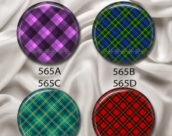 """Pretty In Plaid - Interchangeable Magnetic Design Inserts - FIT Clique and Magnabilities 1"""" Jewelry Bases...565"""