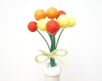 Felt pom pom flowers craspedia bouquet multicolor wool balls hot yellow orange red short tiny stem Christmas  Easter Birthday 10 bow floral