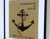 Personalized Burlap Nautical Wedding Gift // Custom Wedding Present  // Nautical Print // Anniversary Gift // Anchor Art Print //